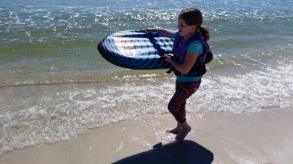 First day of boogie boarding.
