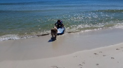 Boogie boarding with her dog
